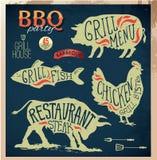 Sistema de etiquetas del menú de la parrilla del ejemplo en de estilo plano del diseño Imagenes de archivo