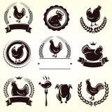 Sistema de etiquetas del pollo Vector Imagenes de archivo