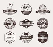 Sistema de etiquetas del queso del vector, de iconos y de elementos del diseño