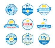 Sistema de etiquetas del queso del vector, de iconos y de elementos del diseño Imagenes de archivo