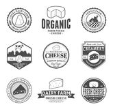 Sistema de etiquetas del queso del vector, de iconos y de elementos del diseño Imagen de archivo libre de regalías