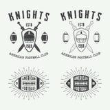 Sistema de etiquetas del rugbi del vintage y del fútbol americano, de emblemas y de logotipos Imagen de archivo