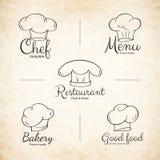 Sistema de etiquetas del sombrero del cocinero para el diseño del menú del restaurante Imagen de archivo
