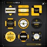 Sistema de 9 etiquetas del techno Imagen de archivo libre de regalías