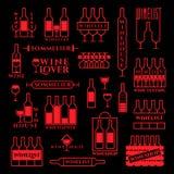 Sistema de etiquetas del vino Fotografía de archivo