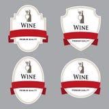 Sistema de etiquetas del vino con el papeleo Imagen de archivo libre de regalías