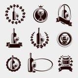 Sistema de etiquetas del vino Vector Imagenes de archivo