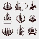 Sistema de etiquetas del vino Vector Fotografía de archivo