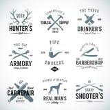 Sistema de etiquetas del vintage con la tipografía retra para libre illustration