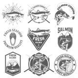 Sistema de etiquetas del vintage con los pescados de color salmón Pesca de color salmón, salmón m Fotografía de archivo libre de regalías