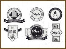 Sistema de etiquetas del vintage, de insignias y de símbolos del negocio Imagenes de archivo