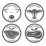 sistema de etiquetas del vintage de la carne Imágenes de archivo libres de regalías