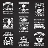 Sistema de etiquetas del vintage del café Fotografía de archivo libre de regalías