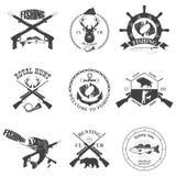 Sistema de etiquetas del vintage en la caza Imágenes de archivo libres de regalías