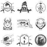 Sistema de etiquetas del vintage en la caza Fotografía de archivo