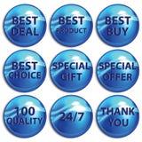 Sistema de etiquetas engomadas azules en el fondo blanco Fotos de archivo libres de regalías