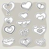 Sistema de etiquetas engomadas blancos y negros de los corazones Elementos del día del ` s de la tarjeta del día de San Valentín Foto de archivo libre de regalías
