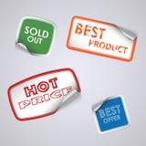 Sistema de etiquetas engomadas coloreadas del rectángulo Imágenes de archivo libres de regalías