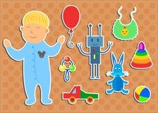 Sistema de etiquetas engomadas con el muchacho y los juguetes Foto de archivo