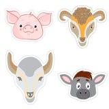 Sistema de etiquetas engomadas con las cabezas de animales en estilo del garabato Imagenes de archivo