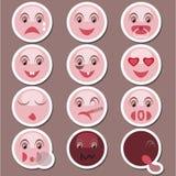Sistema de etiquetas engomadas con sonrisas Fotografía de archivo libre de regalías