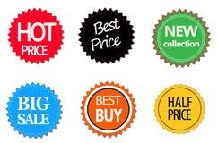 Sistema de etiquetas engomadas, de elementos y de insignias comerciales de la venta Imágenes de archivo libres de regalías