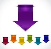 Sistema de etiquetas engomadas de la flecha 3d Foto de archivo libre de regalías
