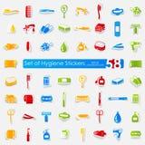 Sistema de etiquetas engomadas de la higiene Fotografía de archivo libre de regalías