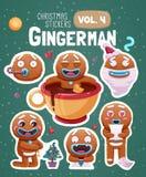 Sistema de etiquetas engomadas de la Navidad con las galletas expresivas del hombre de pan de jengibre stock de ilustración