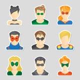 Sistema de etiquetas engomadas del avatar stock de ilustración