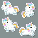Sistema de etiquetas engomadas del unicornio Imagen de archivo libre de regalías
