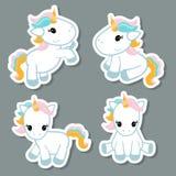 Sistema de etiquetas engomadas del unicornio Foto de archivo libre de regalías