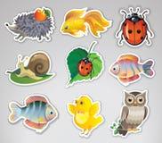 Sistema de etiquetas engomadas del vector con los animales Imagen de archivo libre de regalías