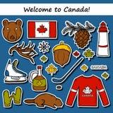 Sistema de etiquetas engomadas dibujadas mano de la historieta en el tema de Canadá stock de ilustración