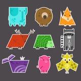 Sistema de etiquetas engomadas geométricas de los animales de los niños planos lindos stock de ilustración