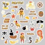 Sistema de etiquetas engomadas de la historieta del vector de los piratas Etiqueta engomada del partido de las aventuras y del pi libre illustration