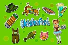Sistema de etiquetas engomadas de la historieta de Oktoberfest stock de ilustración