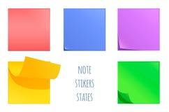 Sistema de etiquetas engomadas de la nota de los posts Herramienta colorida de los efectos de escritorio de la oficina Imagen de archivo
