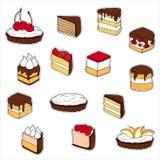 Sistema de etiquetas engomadas de la torta Ilustración drenada mano stock de ilustración