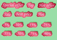 Sistema de etiquetas engomadas de la venta del diseño Vector los ejemplos para las compras, las promociones del producto, el siti Stock de ilustración