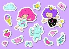 Sistema de etiquetas engomadas lindas con los corazones, el amor, la flor y otros elementos para la muchacha de la princesa Remie stock de ilustración
