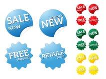 Sistema de etiquetas engomadas modernas en venta/tema retaile Foto de archivo libre de regalías