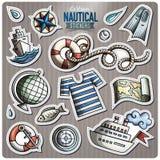 Sistema de etiquetas engomadas náuticas de la historieta del vector stock de ilustración