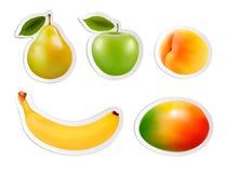 Sistema de etiquetas engomadas planas de la fruta. Fotos de archivo libres de regalías
