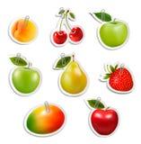 Sistema de etiquetas engomadas planas de la fruta con los clips de papel Foto de archivo