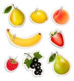 Sistema de etiquetas engomadas planas de la fruta con los clips de papel Imagen de archivo libre de regalías