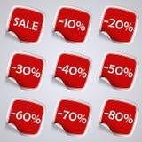 Sistema de etiquetas engomadas rojas de la venta del rectángulo Fotos de archivo libres de regalías