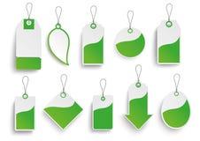 Sistema de etiquetas engomadas verdes del precio Fotografía de archivo libre de regalías