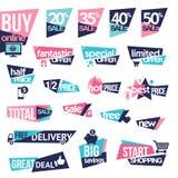 Sistema de etiquetas engomadas y de insignias para la venta stock de ilustración