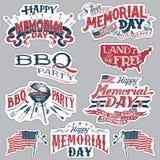 Sistema de etiquetas feliz del partido de la barbacoa de Memorial Day fotografía de archivo